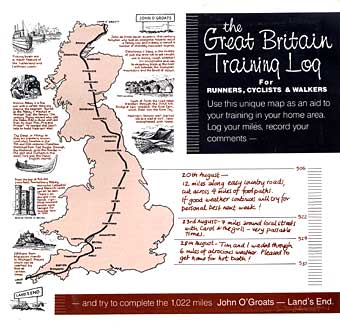 The Great Britain Training Log is an unique map to be used as an aid to training